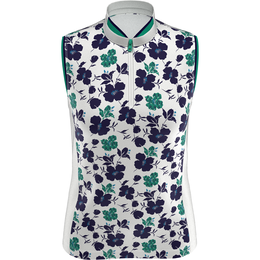 On the Green Collection: Sleeveless Floral Print Mock Shirt