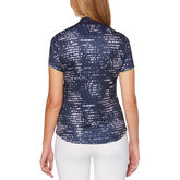 Alternate View 1 of Lilac and Navy Group: Mini Brush Stroke Allover Print Short Sleeve Golf Polo Shirt