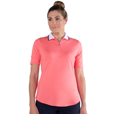 Pink Lady Collection: Short Sleeve Zip Front Polo Shirt