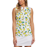 Summer Lemon Collection: Lemon Print Sleeveless 1/4 Zip Pull Over