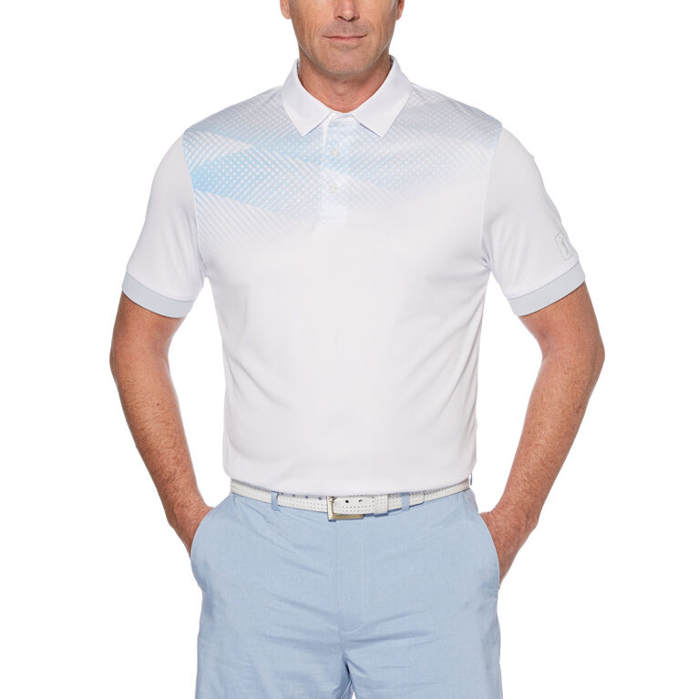 Inverted Ombre Argyle Chest Print Short Sleeve Golf Polo Shirt