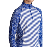 Alternate View 2 of Daisy Striped Long Sleeve Airflow Quarter Zip Pull Over