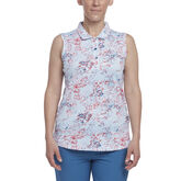 Hibiscus Group: Sleeveless Floral Dot Print Polo