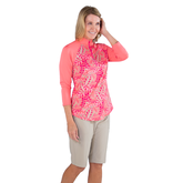 Alternate View 1 of Pink Lady Collection: Half Sleeve Tropical Print Polo Shirt