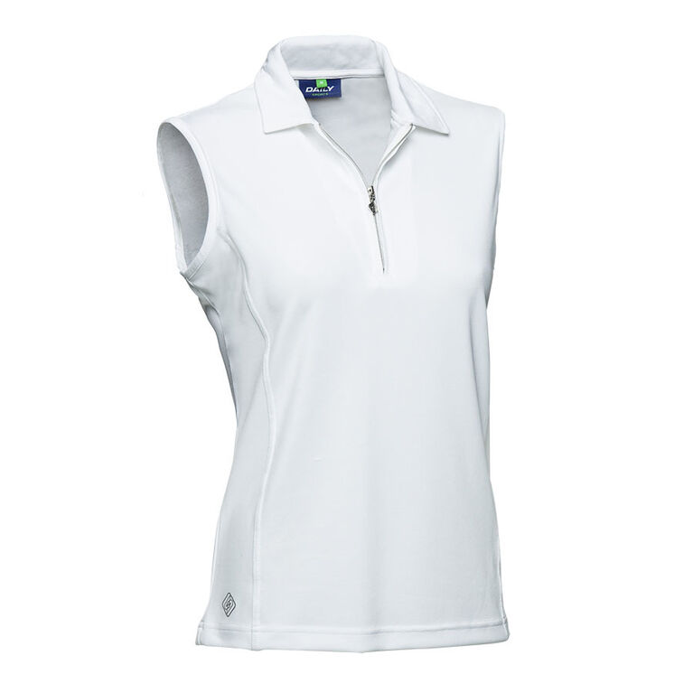 Daily Sports Macy White Sleeveless Solid Polo