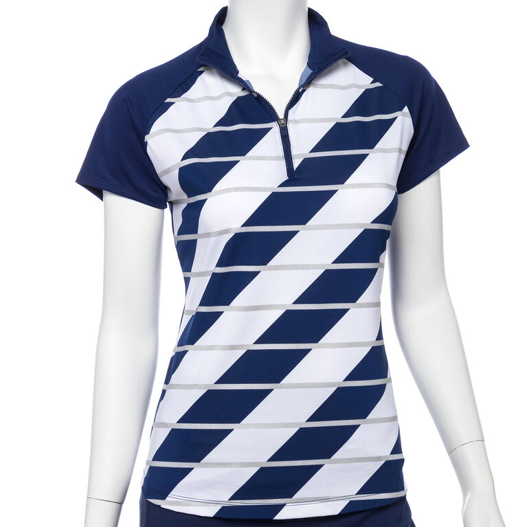 Silver Streak: Short Sleeve Broken Stripe Polo