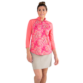 Alternate View 3 of Pink Lady Collection: Half Sleeve Tropical Print Polo Shirt