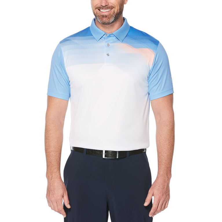 Pixelated Chest Print Short Sleeve Polo Golf Shirt