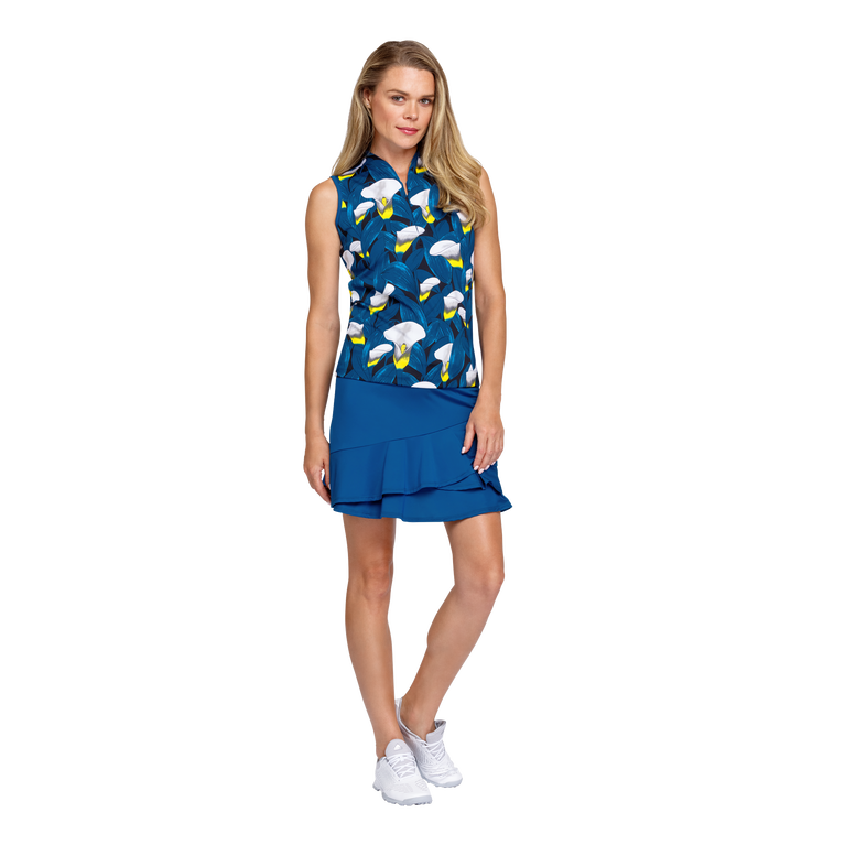 Tranquil Bay Collection: Lily Print Sleeveless Golf Top