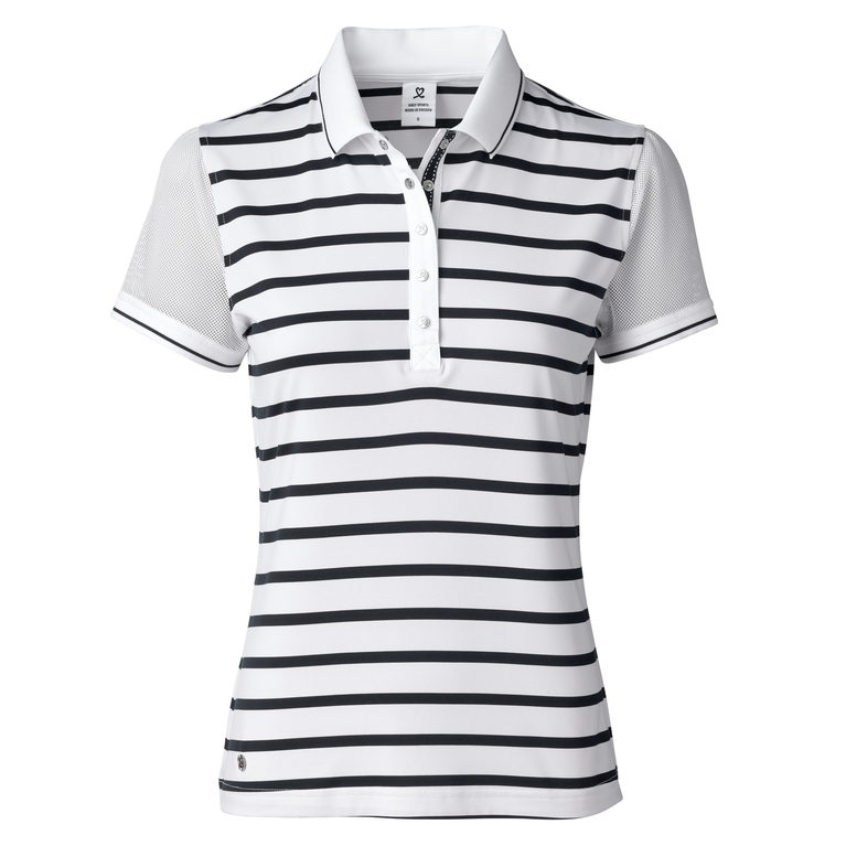 Feminine Sport Collection: Stina Mesh Sleeve Striped Polo