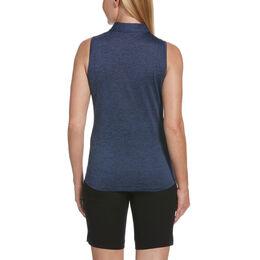 Sail Away Collection: Tonal Mesh Stripe Sleeveless Polo Shirt