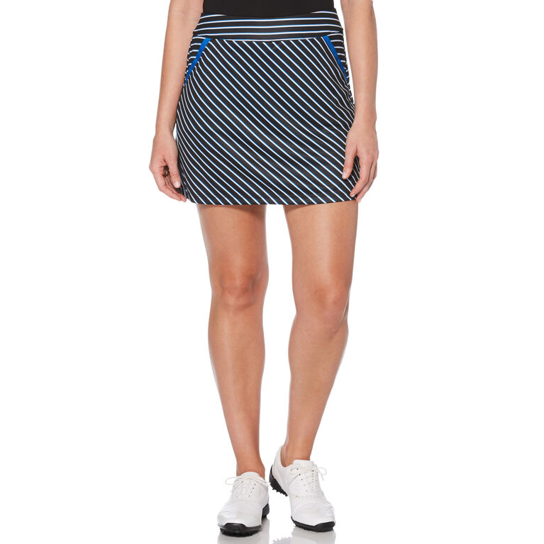 PGA TOUR Black and Blues Collection: Stripe Flounce Golf Skort