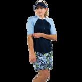 Alternate View 4 of NashVegas Collection: Short Sleeve Striped Rib Mock Polo Shirt