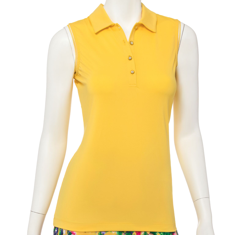 Soleil Collection: Sleeveless Solid Mesh Back Polo