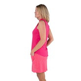 Alternate View 1 of Pink Lady Collection: Sleeveless Cutaway Ruffle Mock Golf Shirt