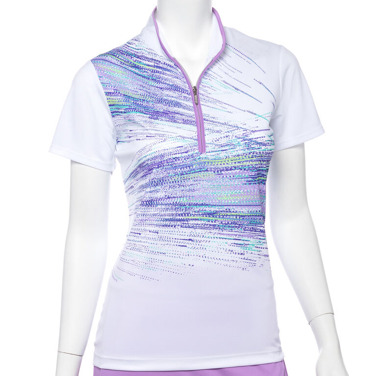 Club Med Group: Short Sleeve Placed Diagonal Splatter Print Polo