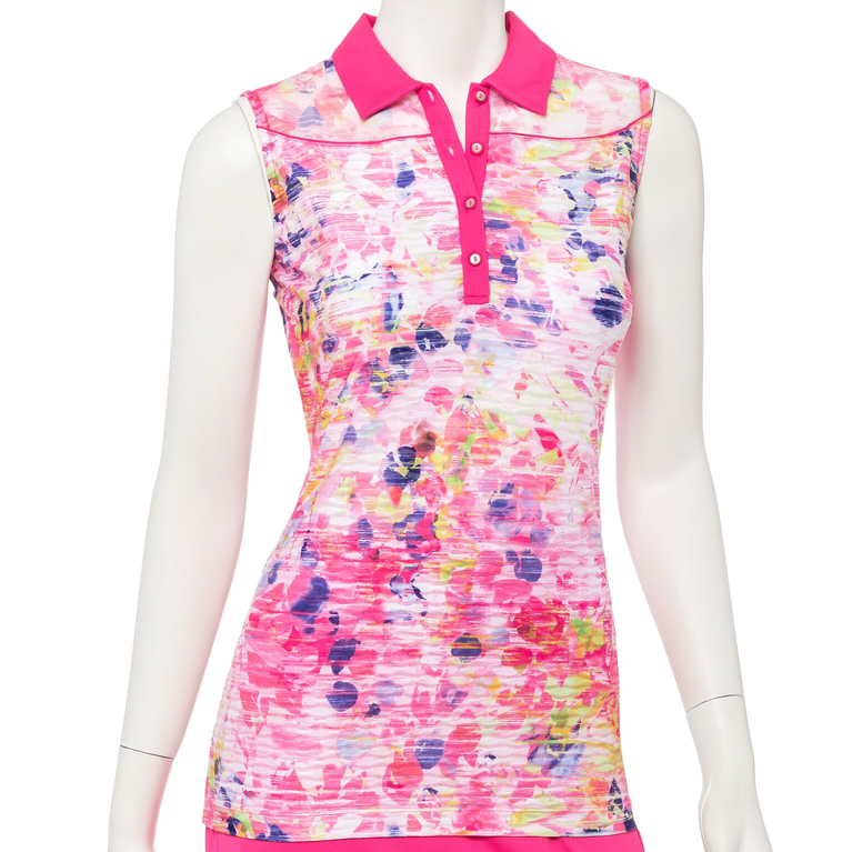 Soleil Collection: Sleeveless Floral Print Polo