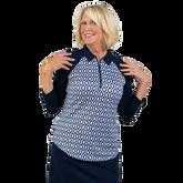 Alternate View 4 of NashVegas Collection: Ikat Print 3/4 Sleeve Polo Shirt
