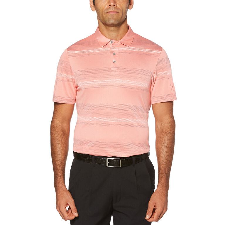 Air Texturized Yarn Mini Geo Stripe Short Sleeve Polo Golf Shirt