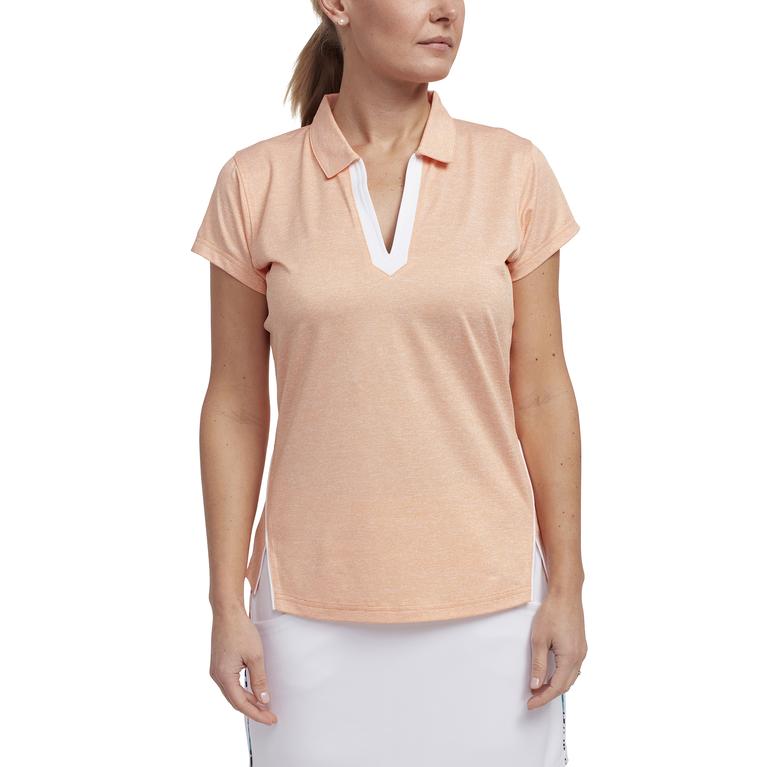 Tropical Collection: Short Sleeve Melange V-Neck Polo