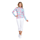 Alternate View 1 of Fun the Sun Collection: Flamingo Print Quarter Zip Pull Over