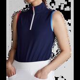 Alternate View 2 of Tri Color Sleeveless Quarter Zip Polo Shirt