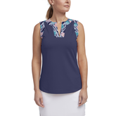 Tropical Collection: Sleeveless Contrast Trim Tank Top