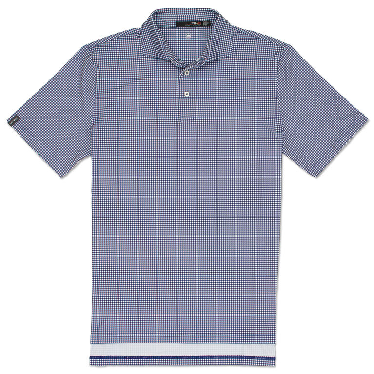 Boys Printed Gingham Lightweight Airflow Polo