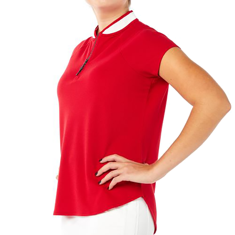 Zip Polo Short Sleeve Top
