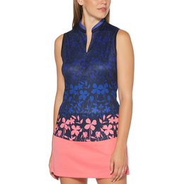 ZigZag Collection: Sleeveless Floral Spring Polo
