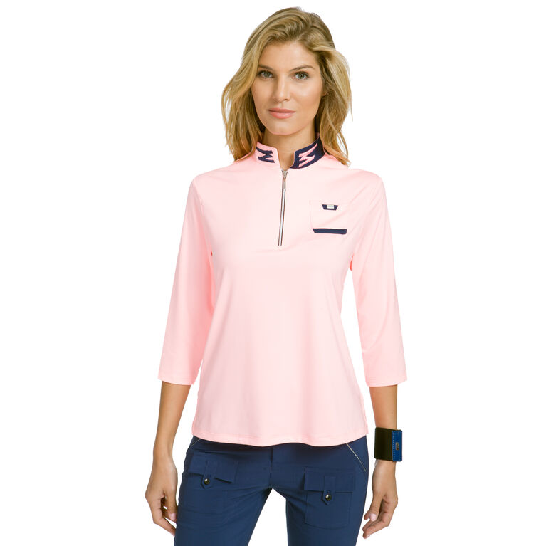 Cupid Group: 3/4 Sleeve Solid Quarter Zip Polo