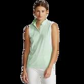 Striped Sleeveless Quarter-Zip Polo Shirt