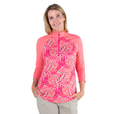 Alternate View 2 of Pink Lady Collection: Half Sleeve Tropical Print Polo Shirt