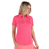 Pink Lady Collection: Short Sleeve Striped Raglan Golf Polo
