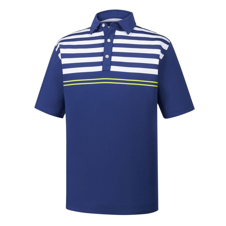 Lisle Engineered Chest Stripes Self Collar Polo