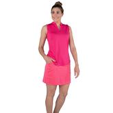 Alternate View 4 of Pink Lady Collection: Sleeveless Cutaway Ruffle Mock Golf Shirt