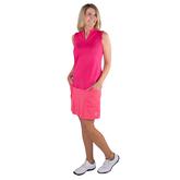 Alternate View 3 of Pink Lady Collection: Sleeveless Cutaway Ruffle Mock Golf Shirt