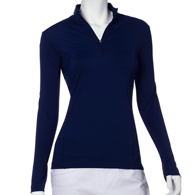 Long Sleeve Solid Quarter Zip Pull Over