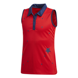 Girls Sleeveless Star Printed Polo Shirt