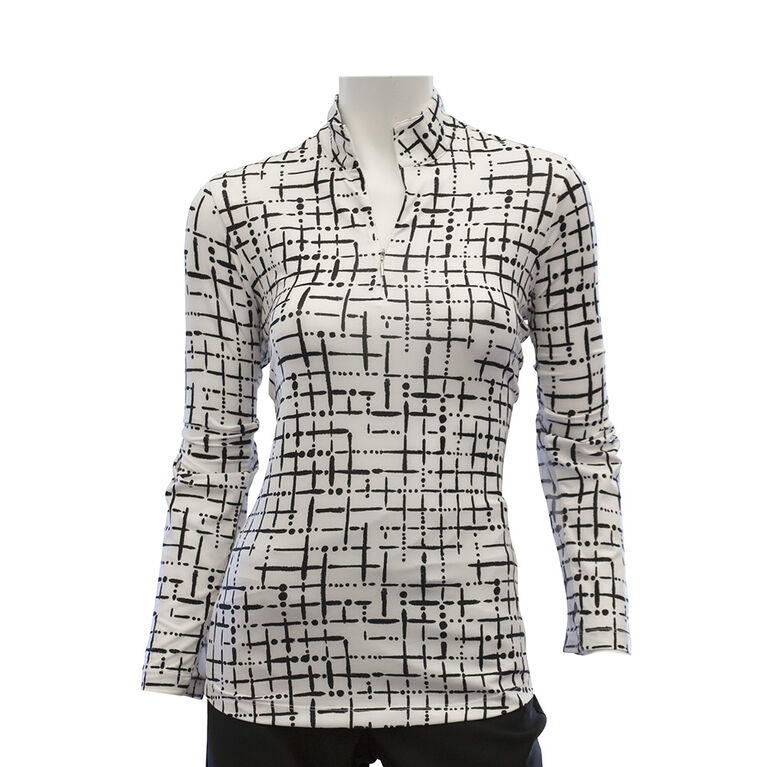 EP Pro Long Sleeve Abstract Grid Print Zip Mock Polo