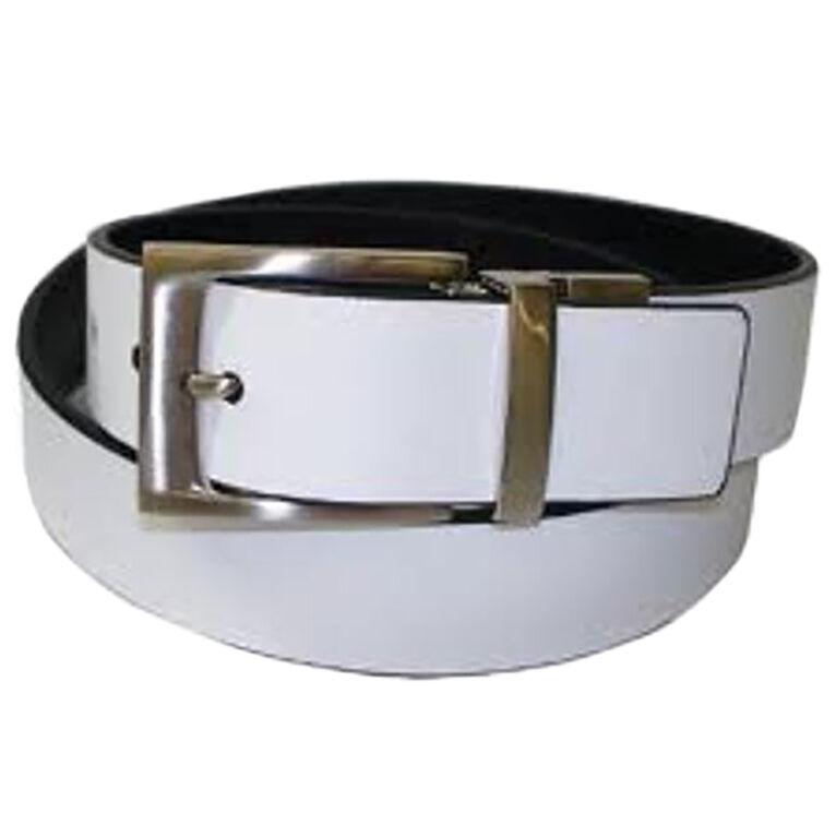 PGA TOUR Rev Leather Belt Wht/Blk Silver Buckle