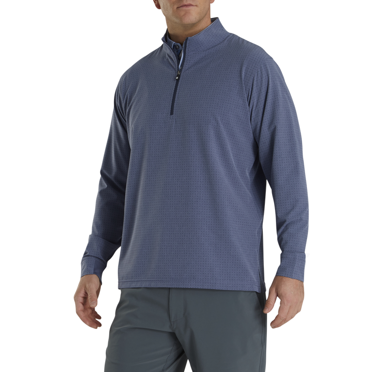 Tonal Print Woven Quarter-Zip Mid-Layer Pullover