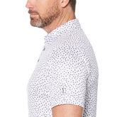 Allover Mini Cube Print Short Sleeve Polo Golf Shirt
