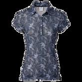 Luisa Short Sleeve Print Mesh Polo Shirt