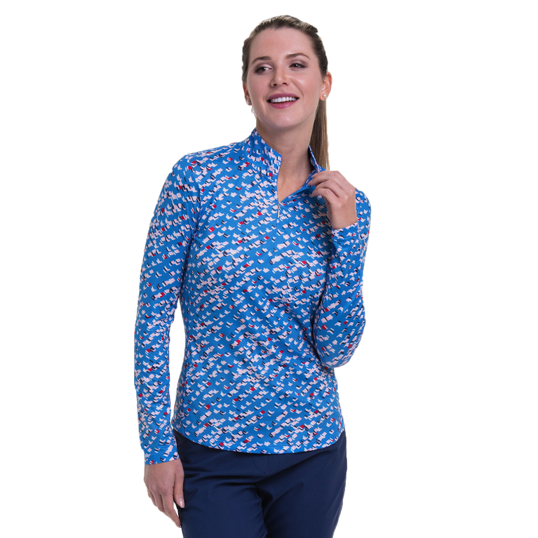 American Beauty Collection: Diamond Geo Print Quarter Zip Pull Over