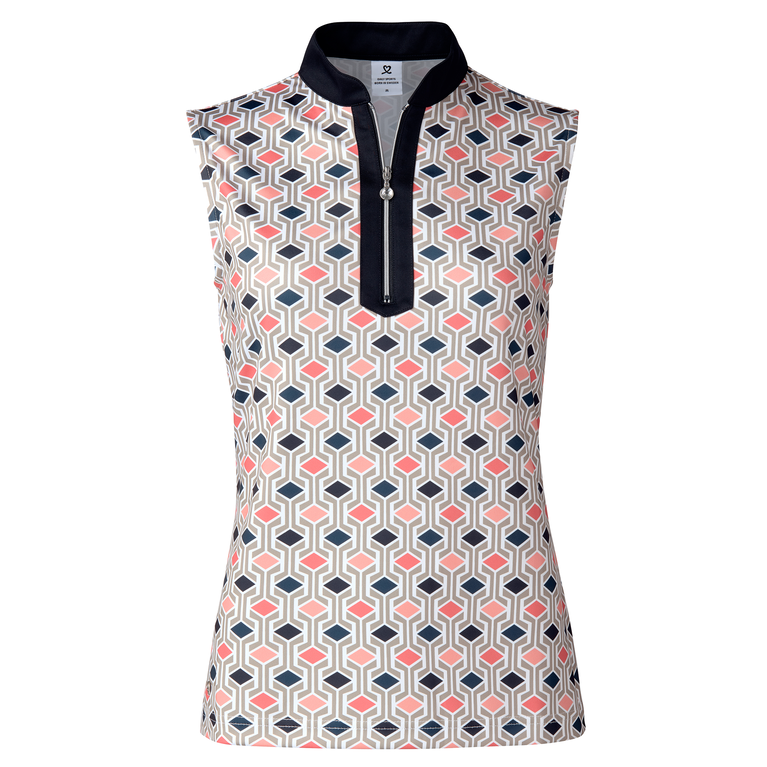 Coastal Collection: Trish Navy Geo Print Sleeveless Polo Shirt