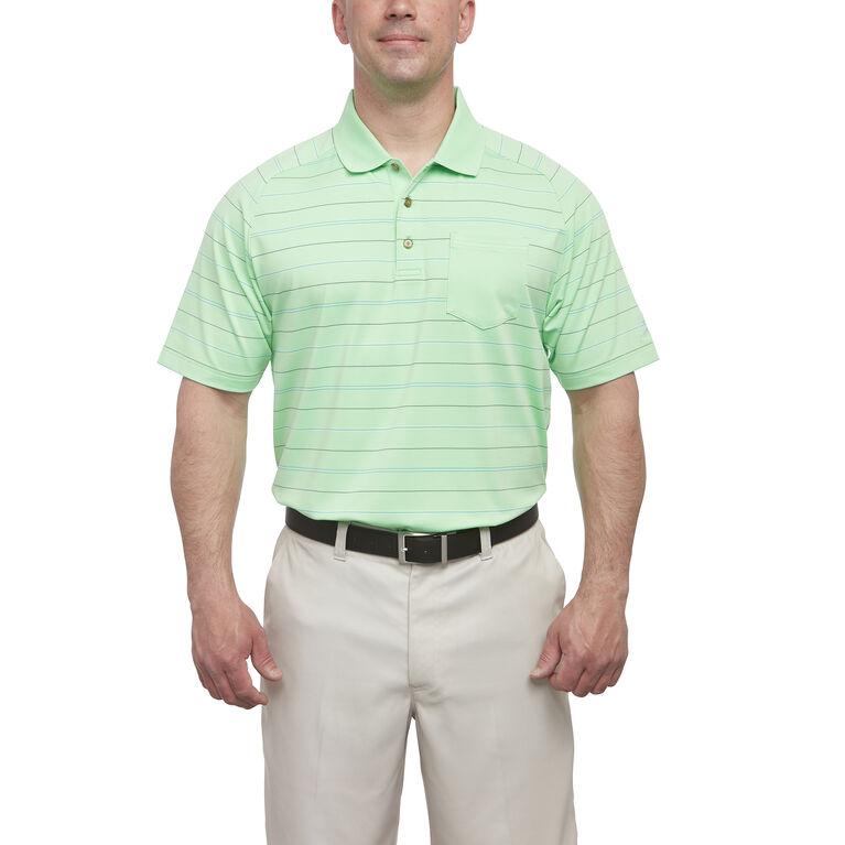 Short Sleeve Solid Pocket Stripe Polo