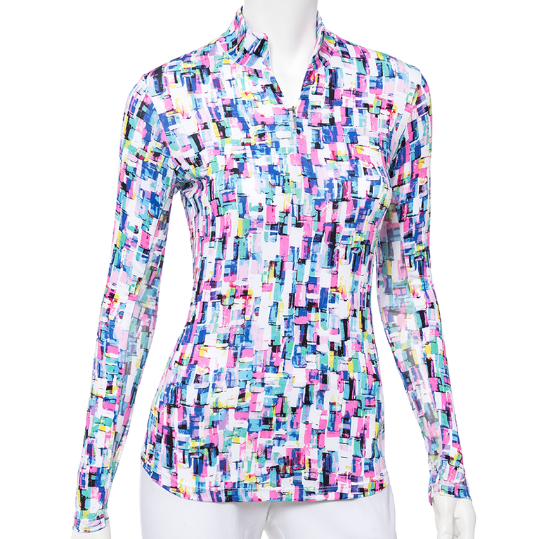 True Colors Collection: Confetti Print Long Sleeve Quarter Zip