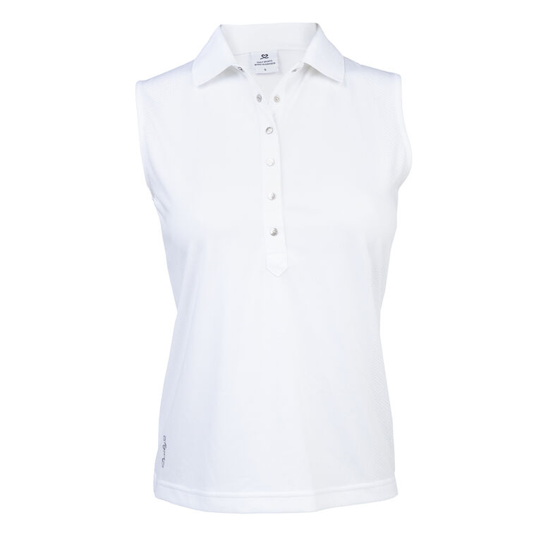 Mindy White Sleeveless Polo