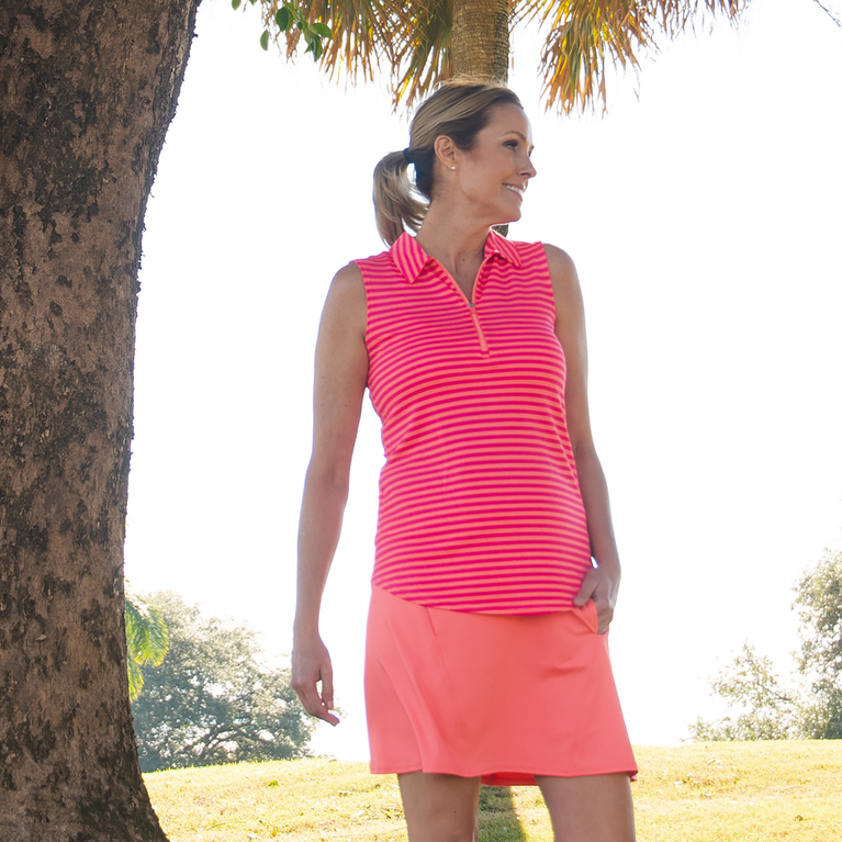 Pink Lady Collection: Sleeveless Striped Polo Shirt